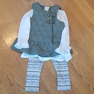 Aspen kids vest blouse leggings set